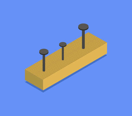nail on isometric wood