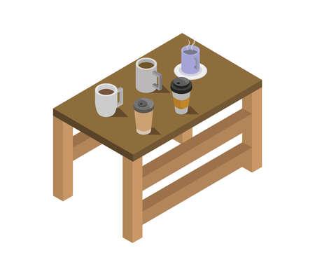 isometric kitchen table Illustration