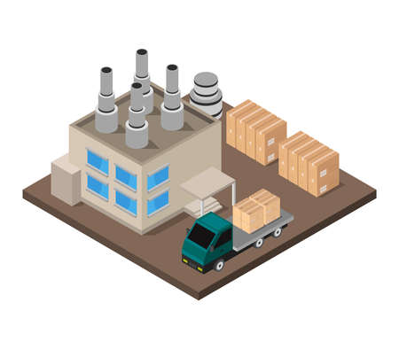 isometric industry 矢量图像