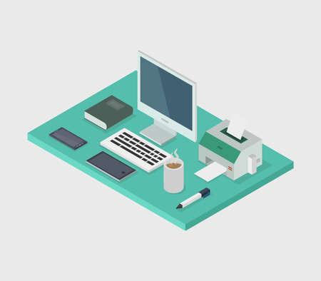 isometric office desk illustration Vecteurs