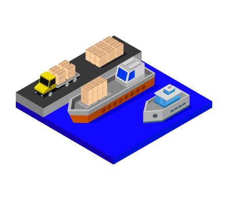 isometric port illustration Stock Illustratie