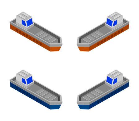 isometric ship Stock Illustratie