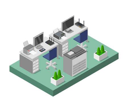isometric office room 向量圖像