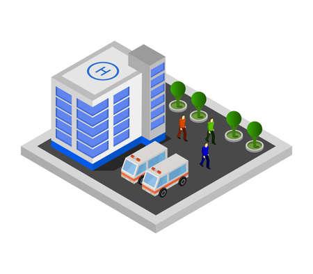 isometric hospital Vektoros illusztráció