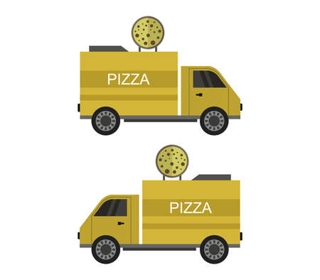 yellow pizza truck  illustration