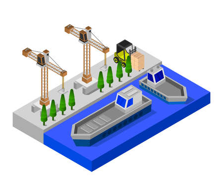 isometric port illustration