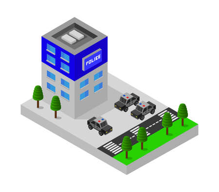 isometric police station illustration