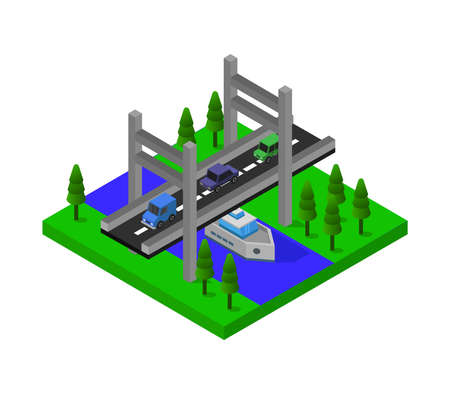 isometric bridge illustration 免版税图像 - 154247347