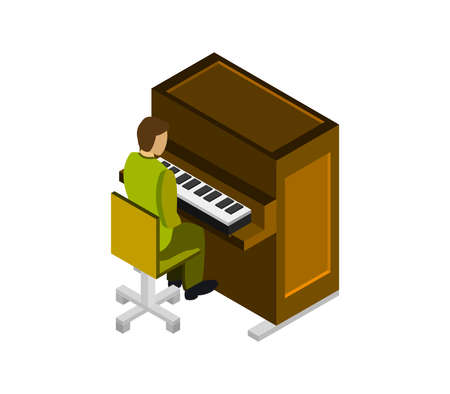 boy studies isometric piano illustration