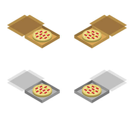 isometric pizza box illustration 矢量图像
