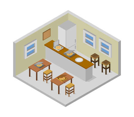 isometric pizzeria room illustration