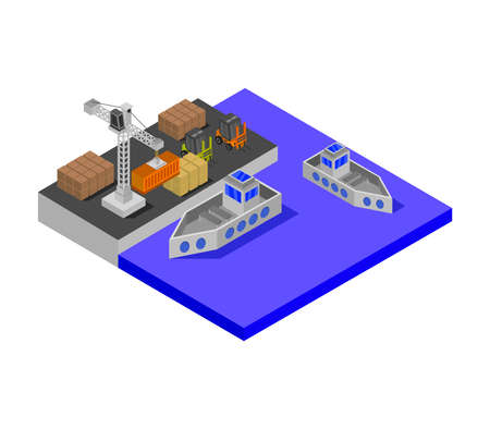 isometric port illustration 矢量图像