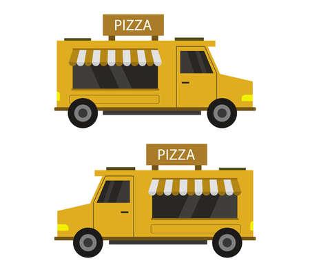 yellow pizza truck illustration