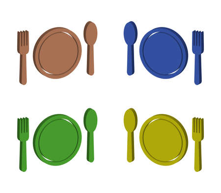 cutlery with plate illustration