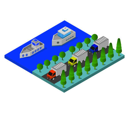 isometric port illustration Иллюстрация