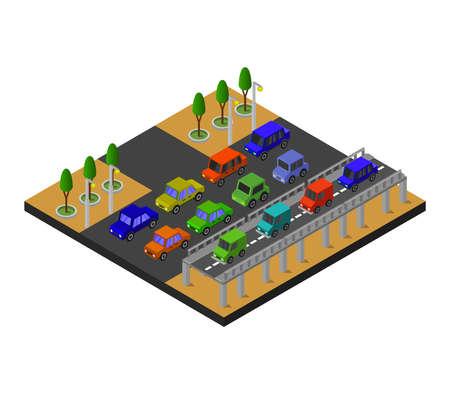 isometric road illustration Иллюстрация