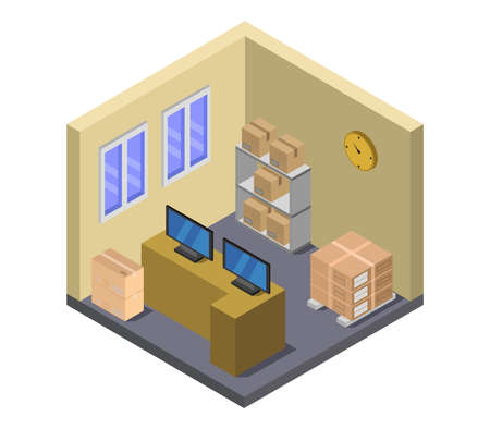 postal office isometric illustration