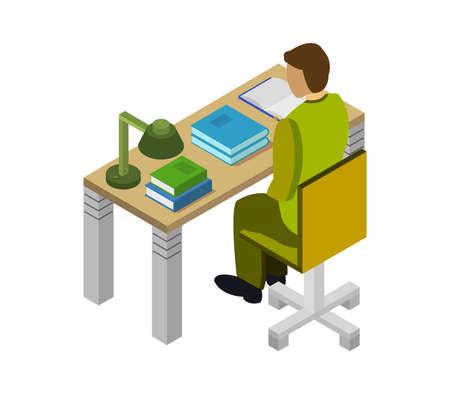 boy studying online isometric illustration