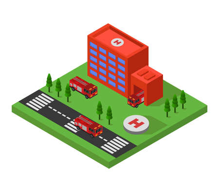 isometric fire station illustration