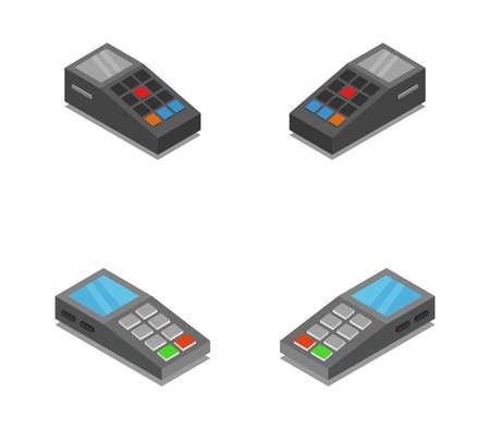 pos terminal isometric illustration