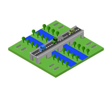 isometric bridge illustration