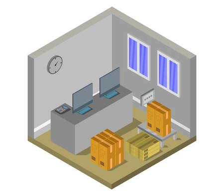 postal office isometric graphic illustration