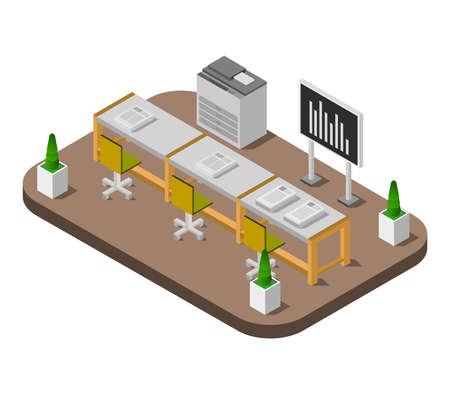 conference room isometric illustration 矢量图像