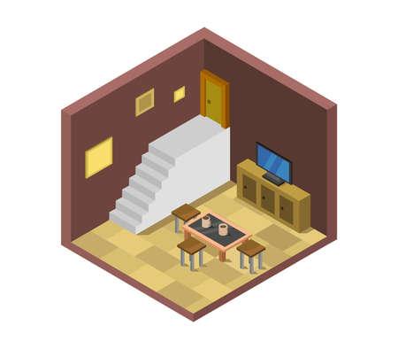 isometric lounge room