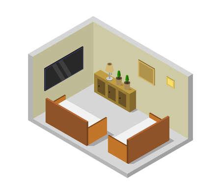 room with isometric television Ilustração