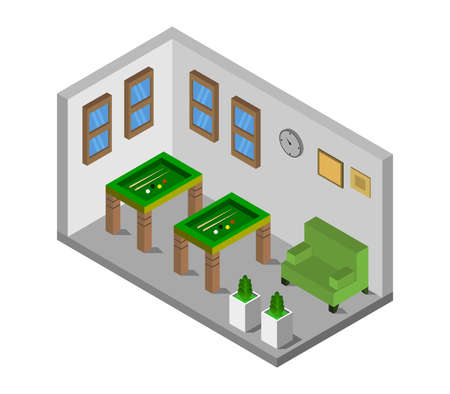 isometric billiard room