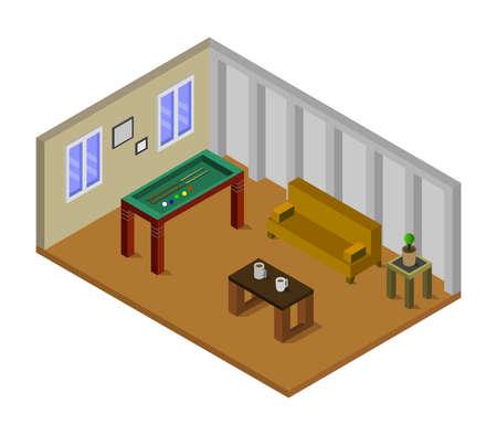 isometric billiard room