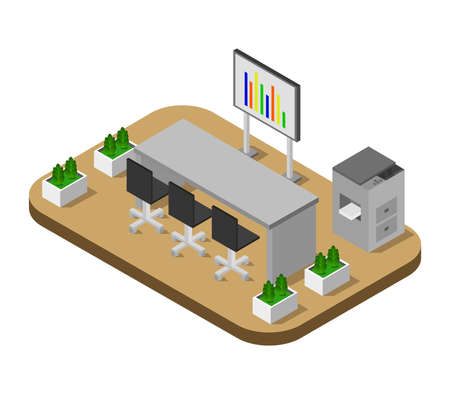 isometric conference room Ilustração