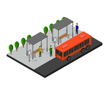isometric bus stop