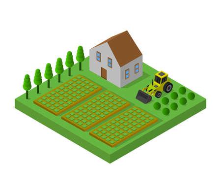 isometric farm Ilustração