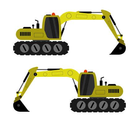 yellow excavator illustration Иллюстрация