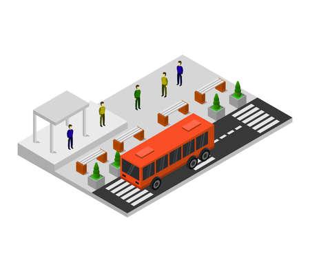 isometric city bus stop
