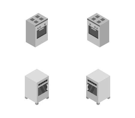 Set of oven illustration