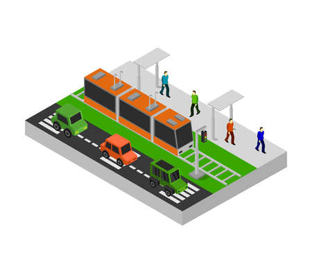 isometric city bus stop illustration