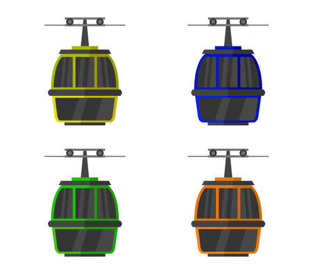 cable car  isolated on white Vettoriali