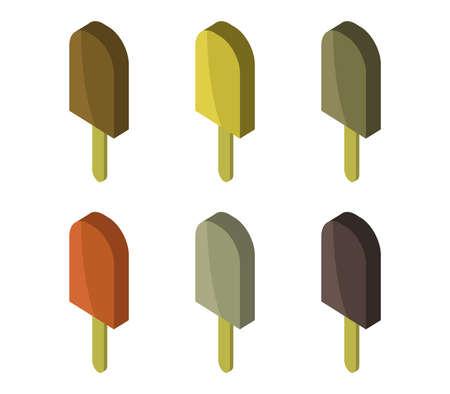 isometric ice cream isolated on white