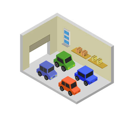 isometric garage isolated on white Vettoriali