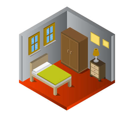 isometric bed room isolated on white