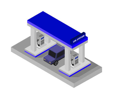 gas station isometric isolated on white Vettoriali