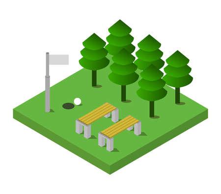 isometric golf isolated on white