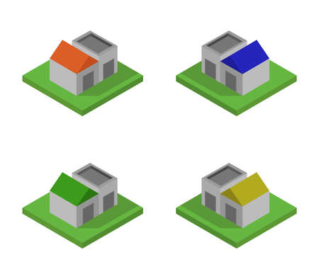 isometric garage 矢量图像