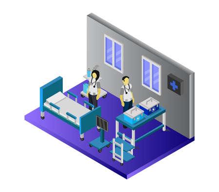 isometric hospital room Vettoriali