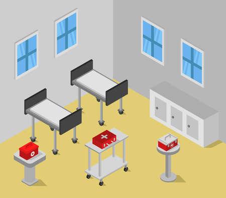 isometric hospital room