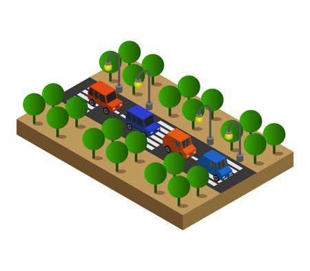 isometric road illustration Ilustração Vetorial