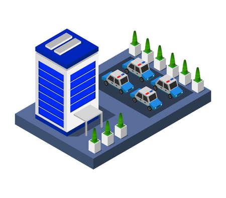 isometric police station illustration
