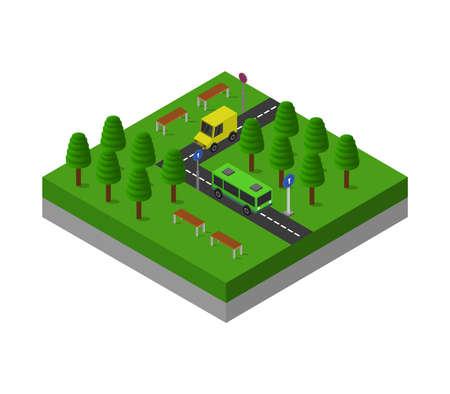 isometric road illustration Vector Illustration